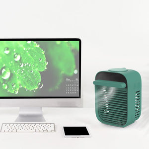 Desktop Air Conditioner Fan Water Spray Fan (Green)