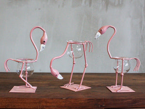 Hydroponic Home Decor - Pink Metal Flamingo Des 1