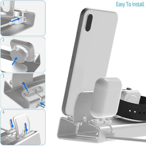 Aluminum 3in 1 Charging Dock For iPhone 11 PRO XR XS Max 8 7 6 Apple