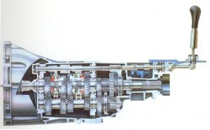 sideview illustration CD009 transmission gears