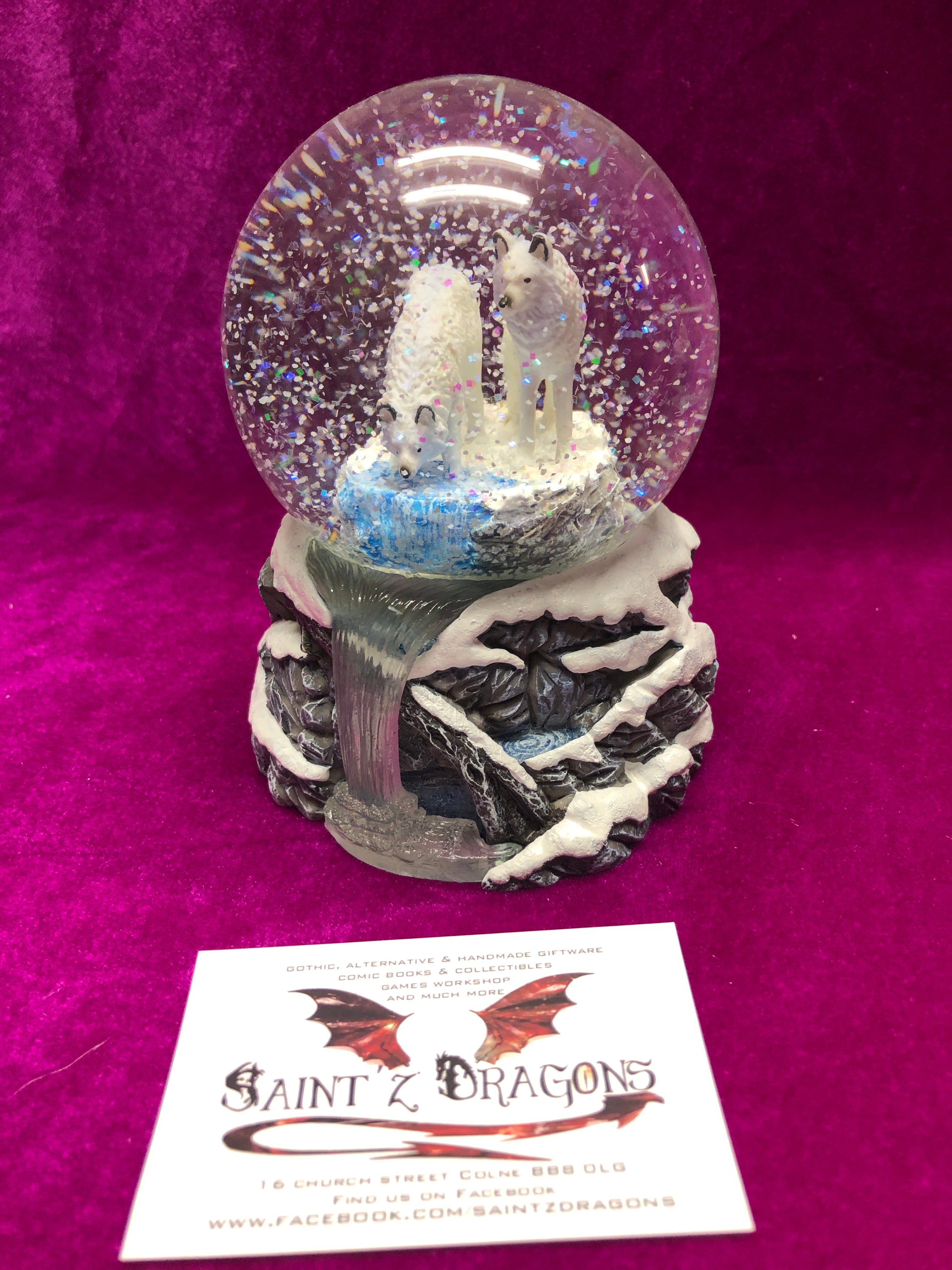 Warriors Of Winter Wolf Snow Globe By Lisa Parker