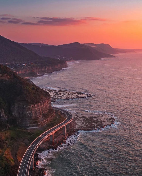 Grand Pacific Drive at sunset, Illawarra Australia
