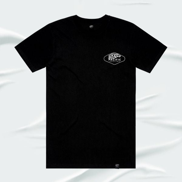 Grand Pacific Customs surfer skater motorcycle tee in Black in Amped design