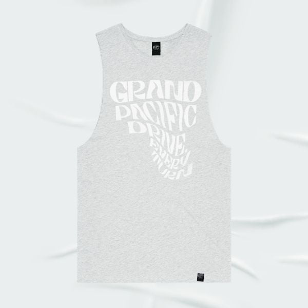 Grand Pacific Customs skater surfer tank singlet in White Marle in Every Turn design