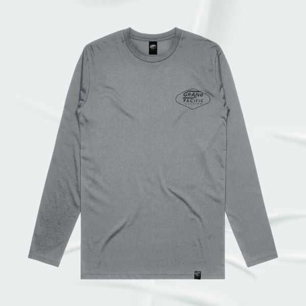 Grand Pacific Customs long sleeve base layer tee in Grey Marle in AMPED design