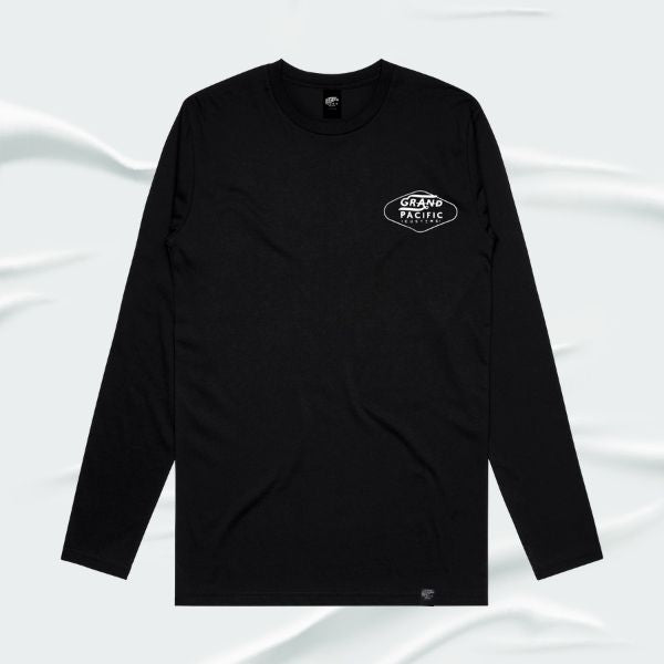 Grand Pacific Customs surfer skater motorcycle long sleeve tee base layer in Black in AMPED design