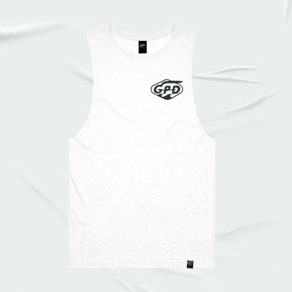 Grand Pacific Customs surfer skater tank singlet in White Marle in WAVES design