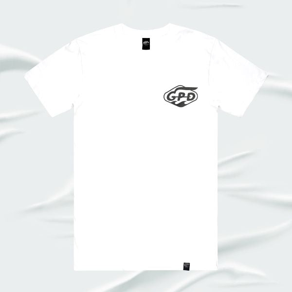 Grand Pacific Customs surfer skater motorcycle tee in crisp White in WAVES design