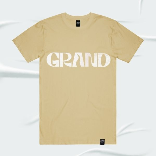 Grand Pacific Customs surf skate motorcycle tee in Tan biege with Grand design