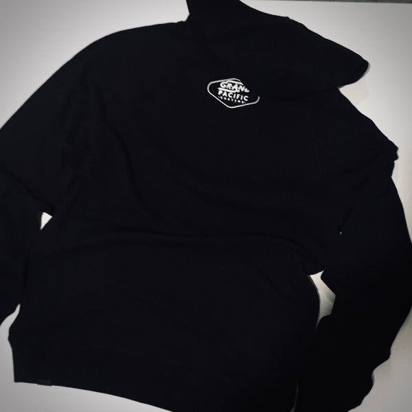 Grand Pacific Customs hoodie in black with GRAND print design back print