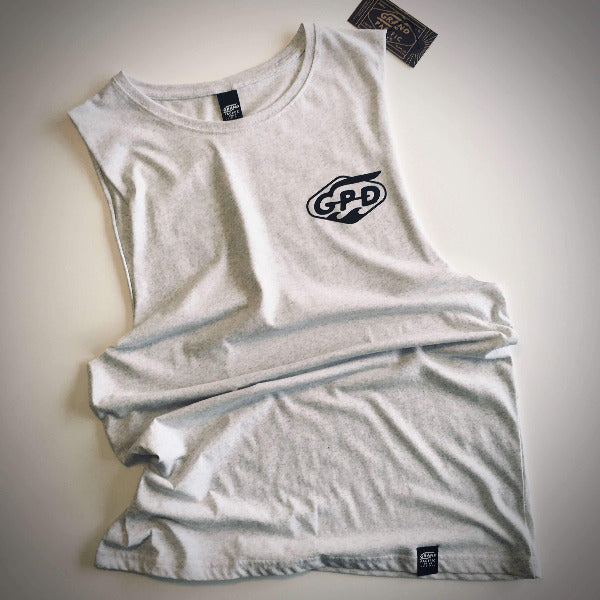Grand Pacific Custom limited edition racing tank singlet in white marle with Waves design