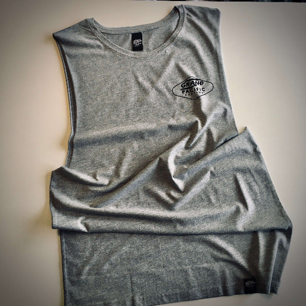Gtand Pacific Customs grey surfers tank singlet in Amped design