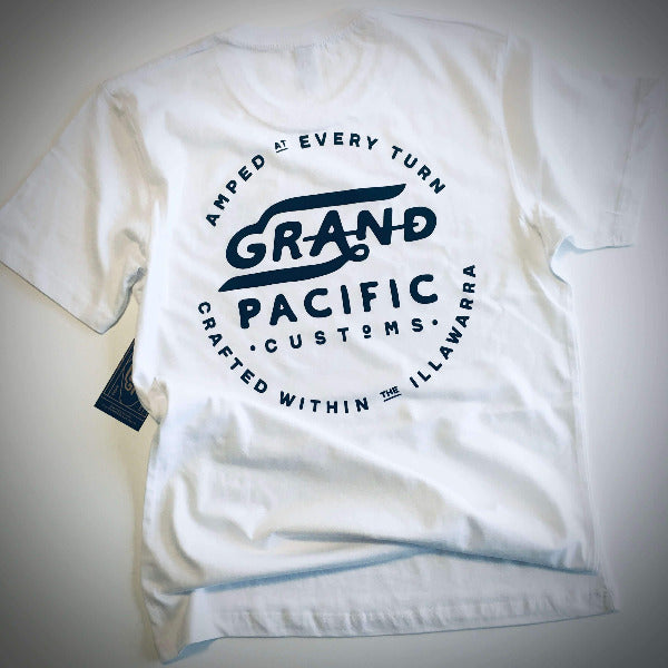 Grand Pacific Customs white tee in Amped design