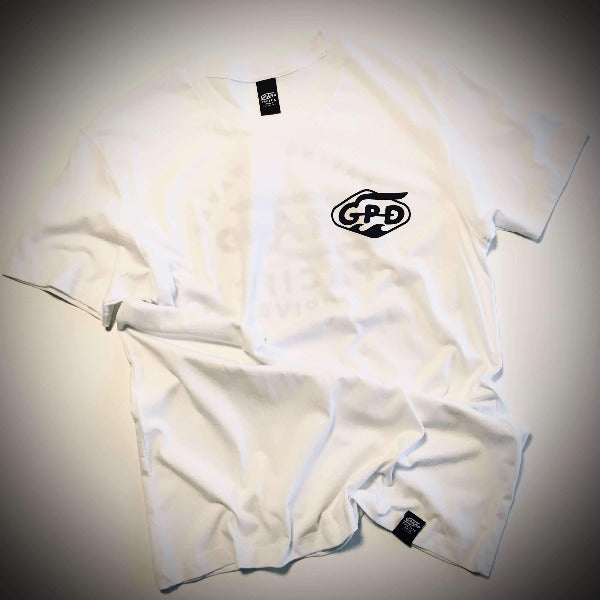 Grand Pacific Customs limited edition motorbike racing tee in white with monogram logo