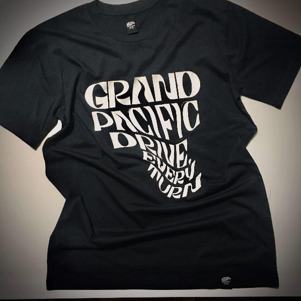 Grand Pacific Customs skaterboard tee in coal black in Every Turn design