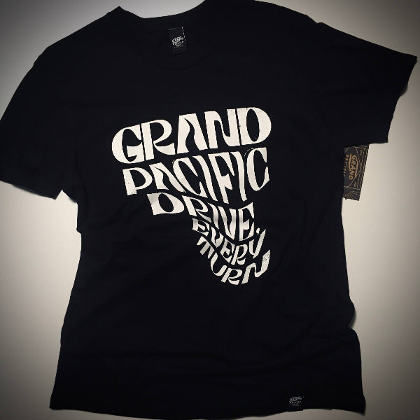Grand Pacific Custome black tee in Every Turn design