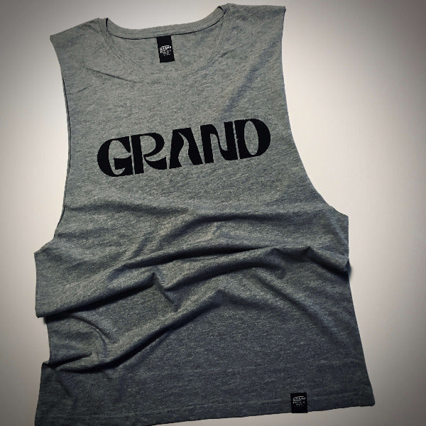 grand pacific customs grand  surfers tank singlet grey marle front