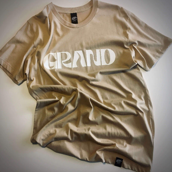 grand pacific customs grand tee tan white print front