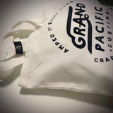 Grand Pacific Customs shoulder tote in vintage white with Amped design