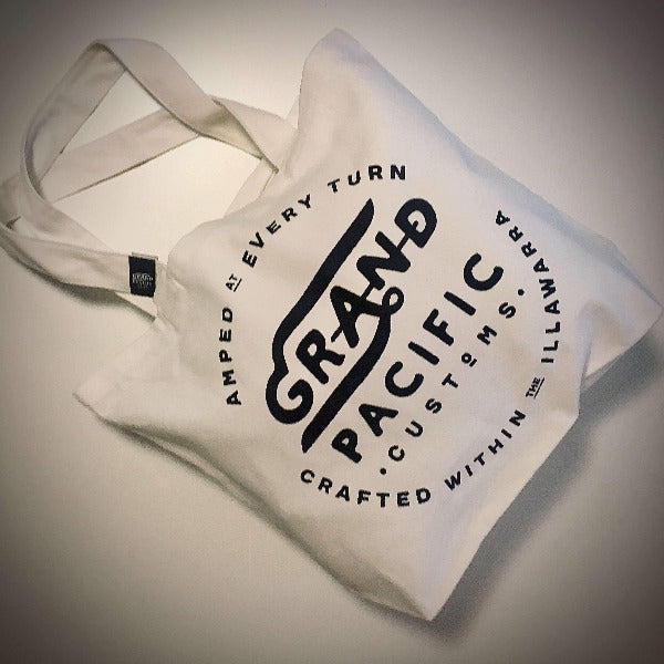 Grand Pacific Customs shoulder tote in white with Amped design