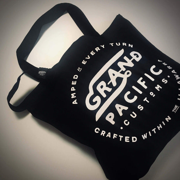 grand pacific customs shoulder tote bag in black with Amped design