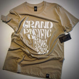 <img source='pic.gif' alt=' grand pacific drive customs every turn tee tan WHITE print front ' />