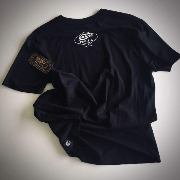 grand pacific customs sufers skaters bikers tee in black with Grand design