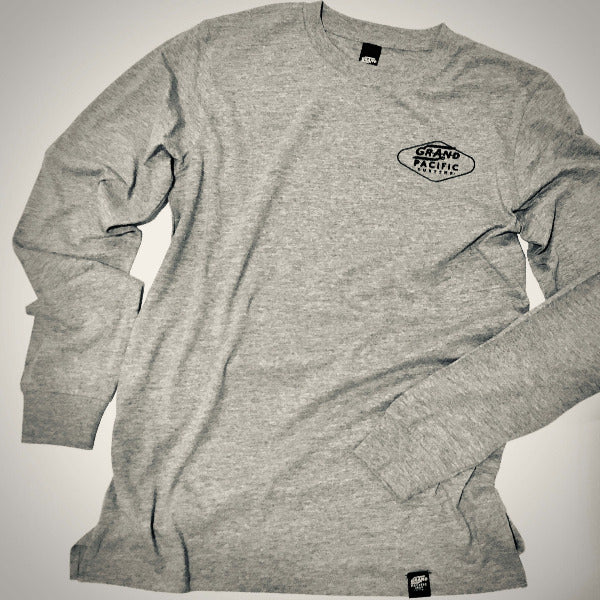 Grand Pacific Customs grey marle long sleeve skater tee in Apmed design