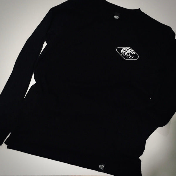 Grand Pacific Customs long sleeve tee in black in Amped design