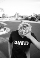 grand pacific customs skateboarder in Grand black tee