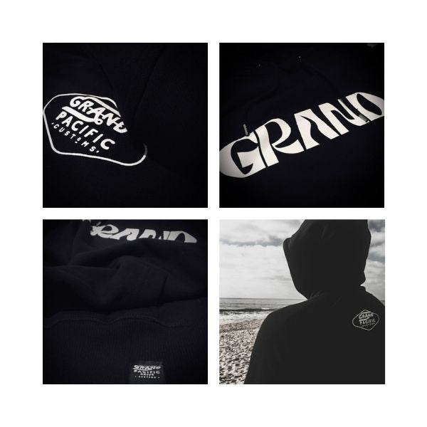 Grand Pacific Customs hoodie in black with GRAND print design close ups on logos