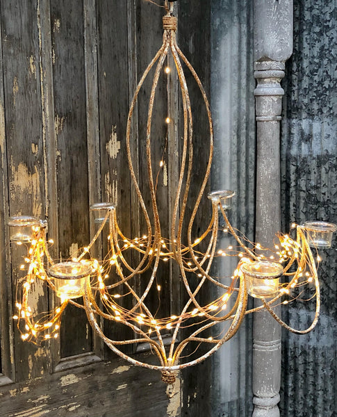 French Chandelier w/Electric Lights & Votives