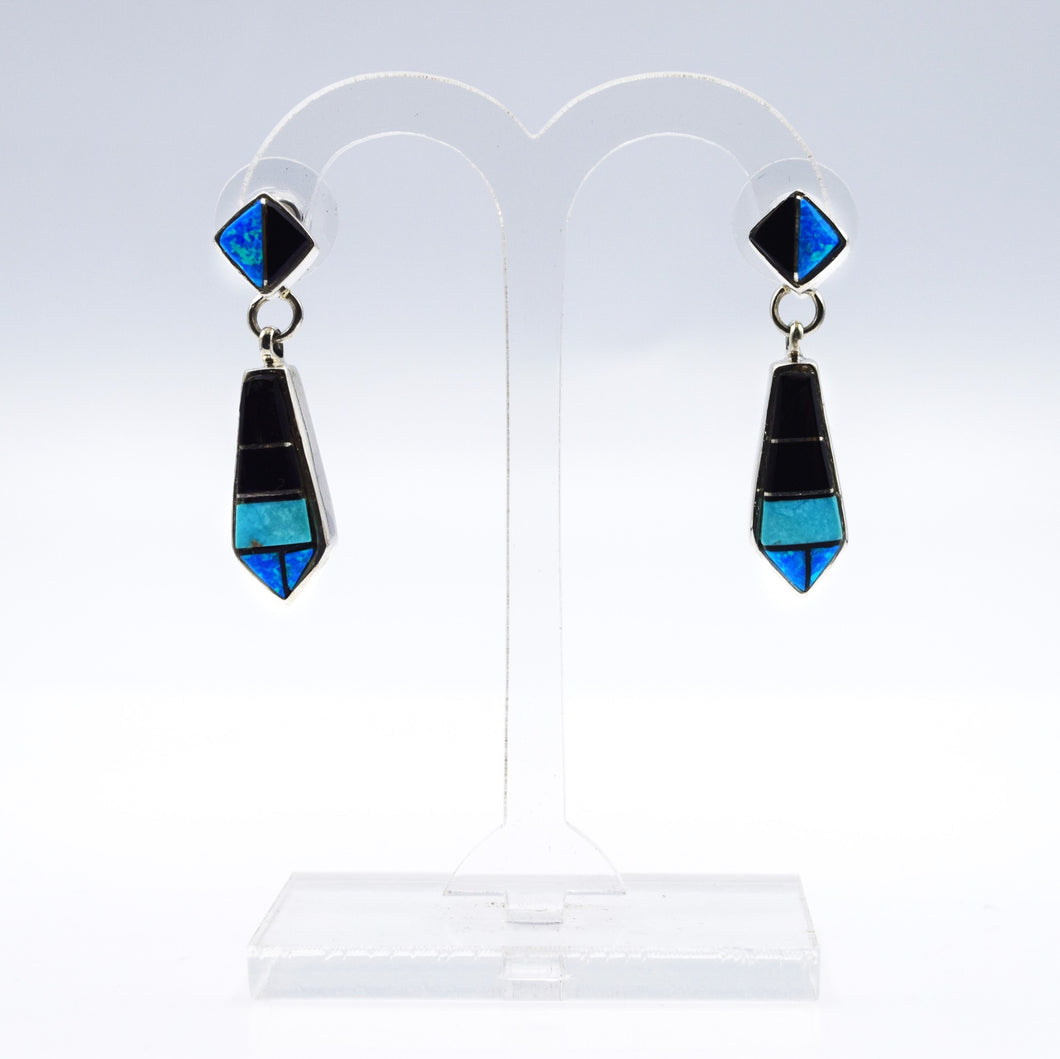 Zuni, 925 Silver Channeled Inlay Opal and Onyx Earrings
