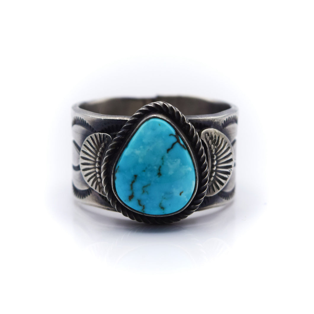 Navajo, 925 Silver Overlay and Turquoise Ring