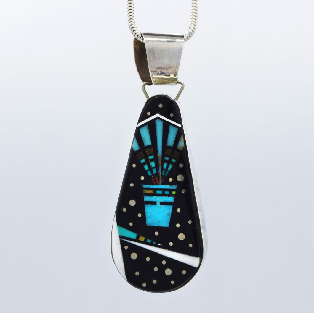 Zuni, 925 Silver  Turquoise, Coral, Onyx and White Marble Mosaic Inlay Pendant