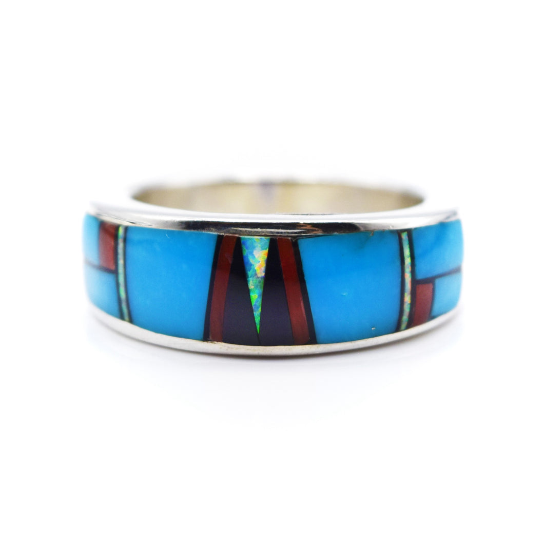 Zuni, 925 Silver Mosaic Inlay Turquoise, Coral, Sythesised Opal and Onyx Ring