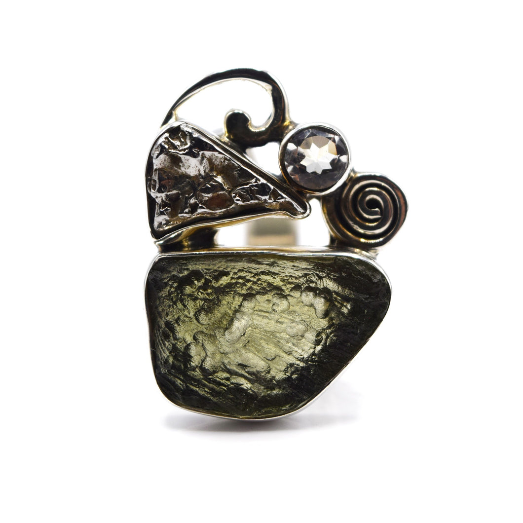 Moldavite and Herkimer Diamond Ring 925 Silver