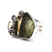 Load image into Gallery viewer, Moldavite and Herkimer Diamond Ring 925 Silver
