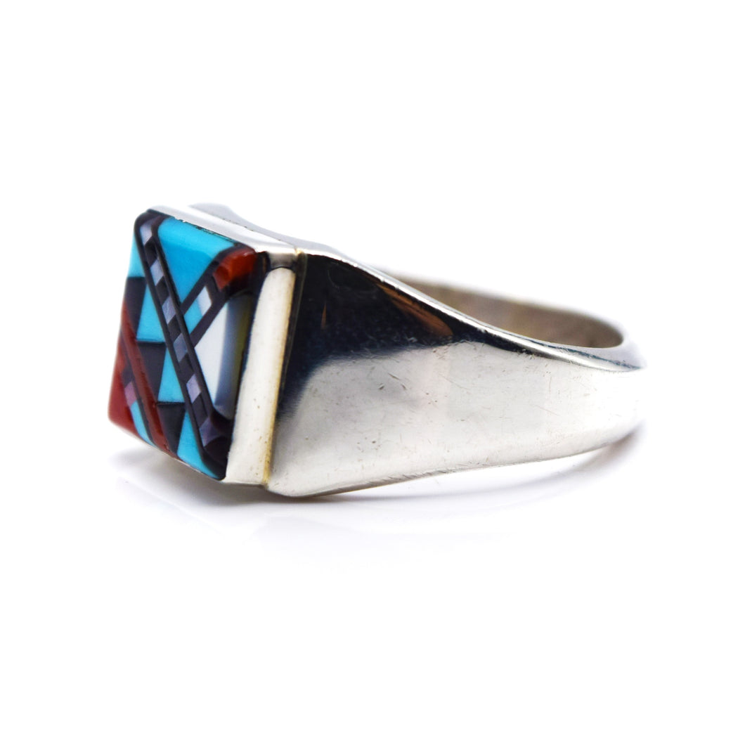 Zuni, 925 Silver Mosaic InlayTurquoise, Coral, Onyx and Mother of Pearl Ring