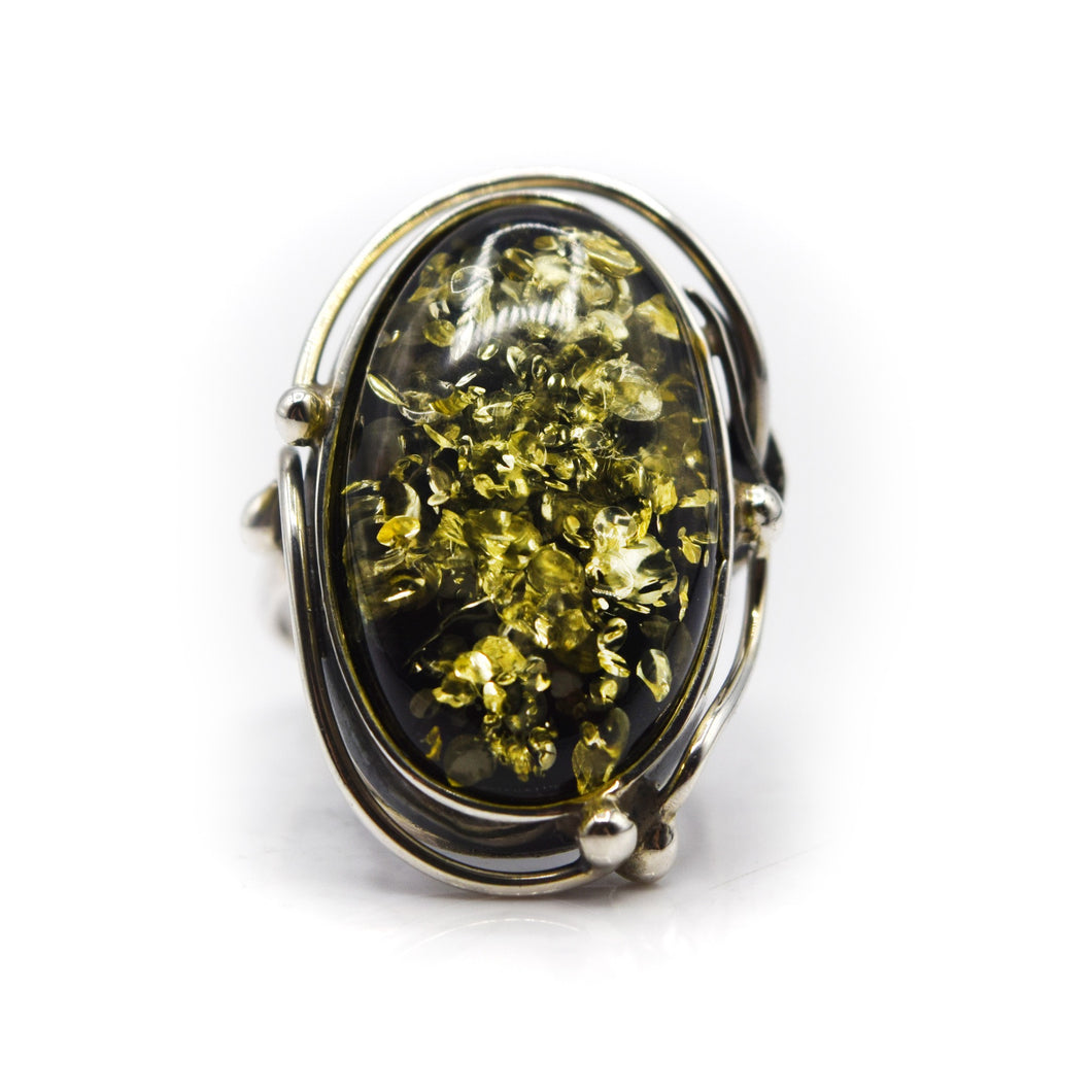 Green Amber Ring 925 Silver