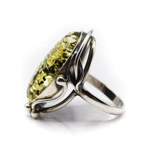 Load image into Gallery viewer, Green Amber Ring 925 Silver