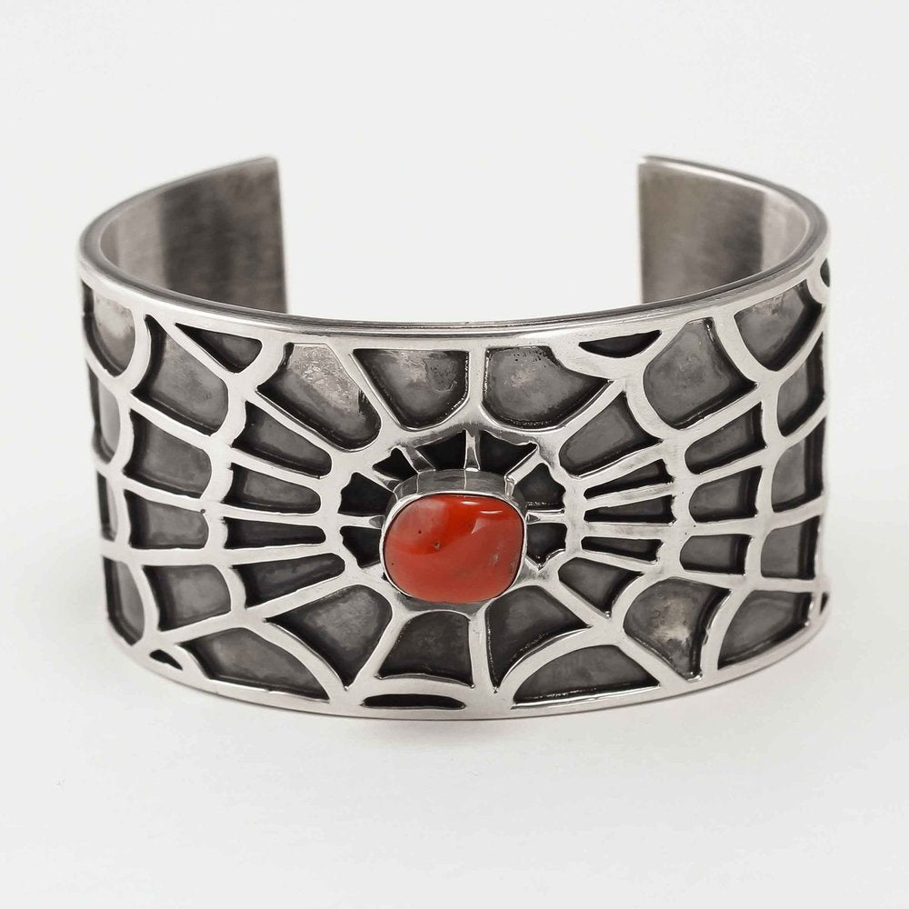 Navajo 925 Siver Spider Web Bracelet with Coral centre stone