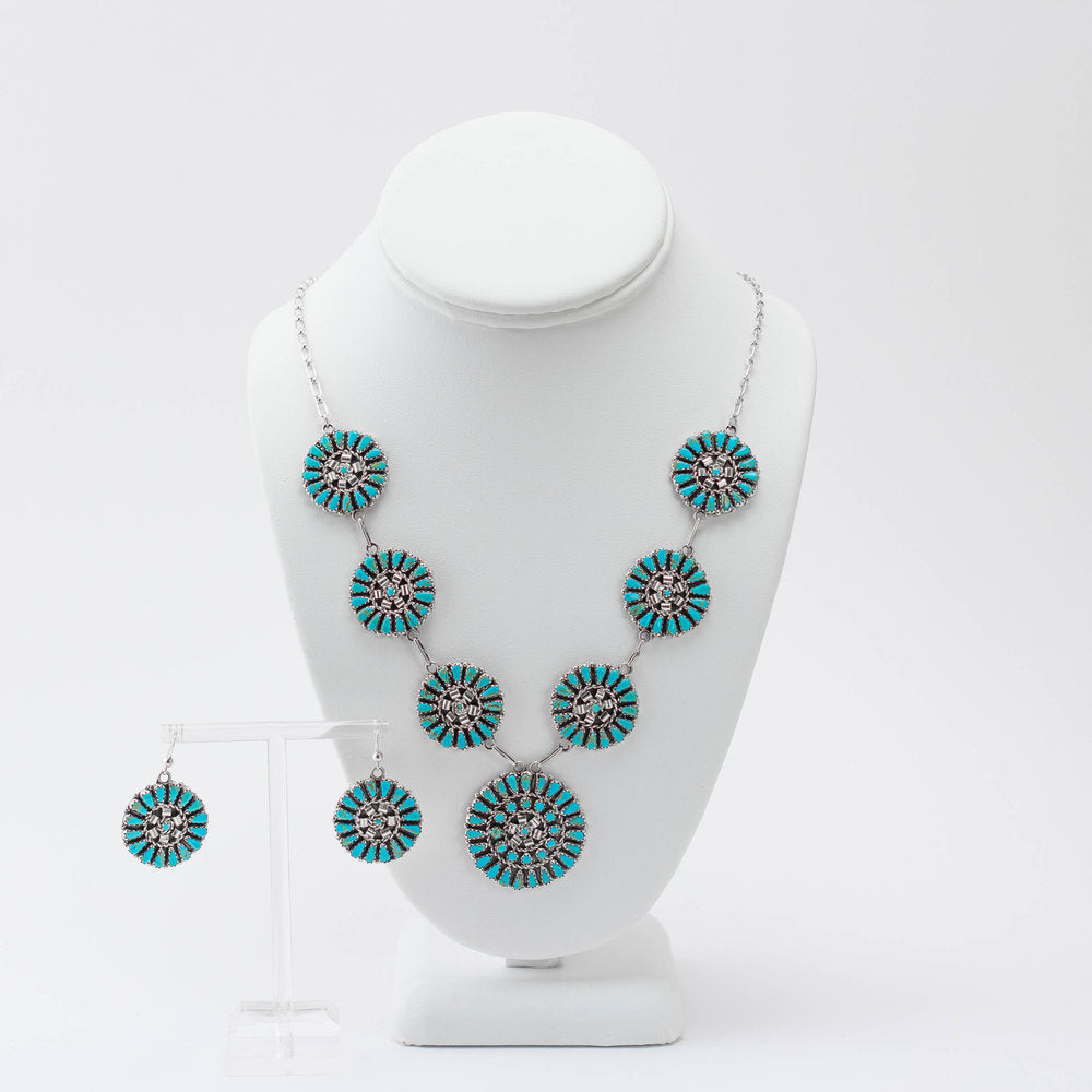 Zuni 925 Silver and Turquoise Petit Point Jewellery Set