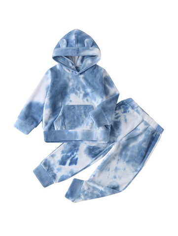 Lil Lady Blue & White Kangaroo Sweatsuit