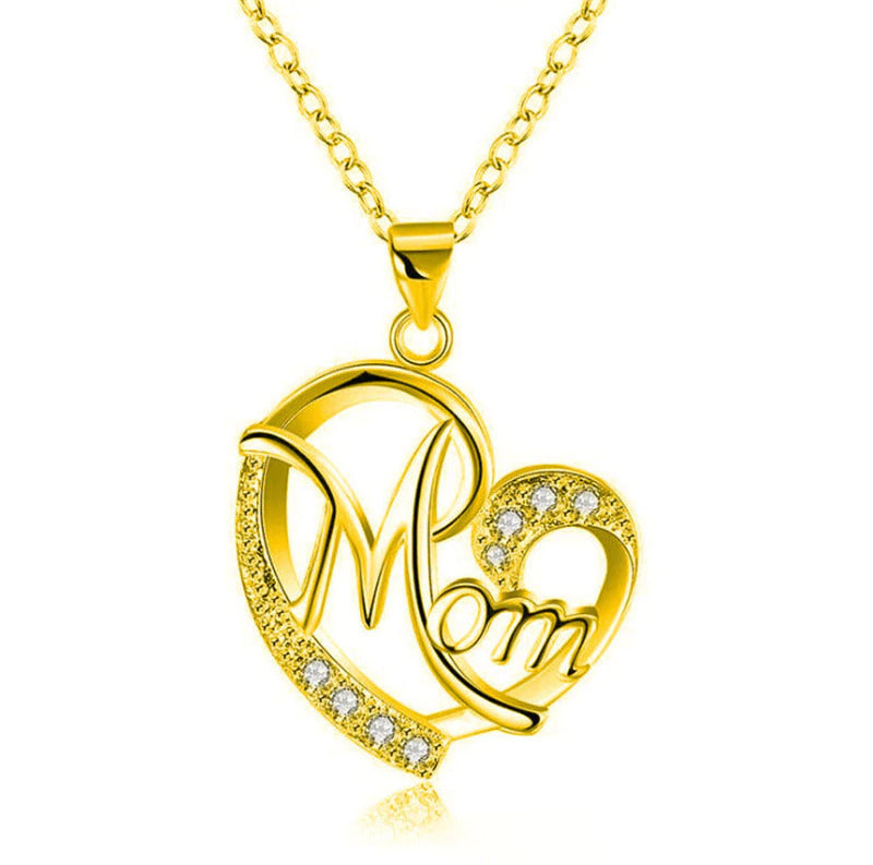 Letter MOM Heart Shape Inlaid Crystal Pendant Necklace