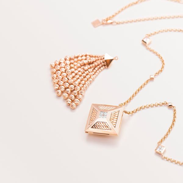 ROSE GOLD TASSEL TOKEN NECKLACE