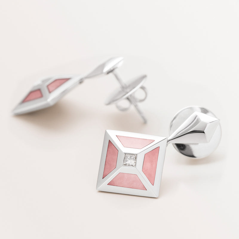 PINK OPAL TOKEN EARRINGS