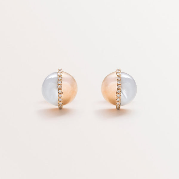 SPHERE EARRINGS IN ROSE GOLD AND MOP