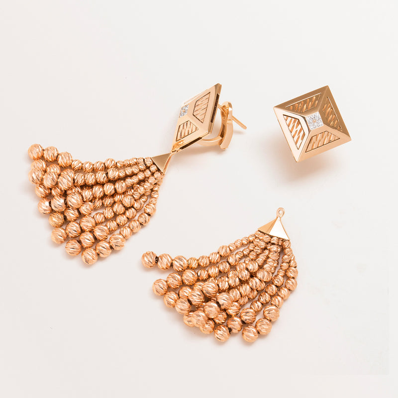 ROSE GOLD TASSEL TOKEN EARRINGS
