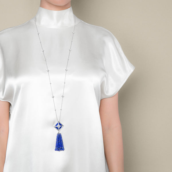 LAPIS TASSEL TOKEN NECKLACE
